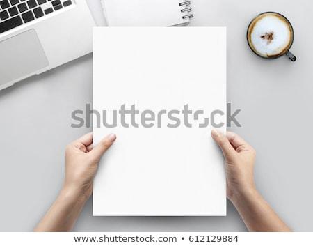 Oficina lugar de trabajo mesa papel en blanco página taza de café Foto stock © karandaev