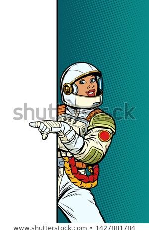 publicidad · nina · anunciante · arte · pop · estilo · retro · femenino - foto stock © studiostoks