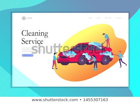 lava-jato · desenho · animado · imagem · dois · crianças · lavagem - foto stock © rastudio