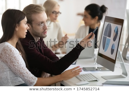 Coworker process, Two Business colleague presenting and pointing Stock photo © Freedomz