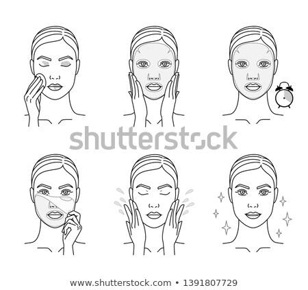huid · mooie · vrouw · groene · gezicht · masker · vector - stockfoto © angelp
