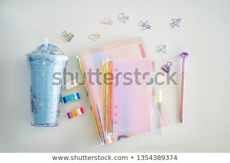 schrijfbehoeften · ingesteld · notebook · pen · geïsoleerd · witte - stockfoto © galitskaya
