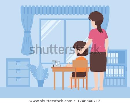 Moeder dochter huiswerk samen onderwijs familie Stockfoto © dolgachov