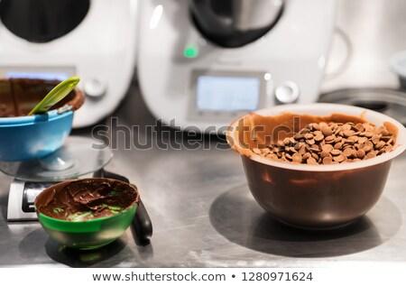 Csokoládé gombok tál cukrászda bolt gasztronómiai Stock fotó © dolgachov