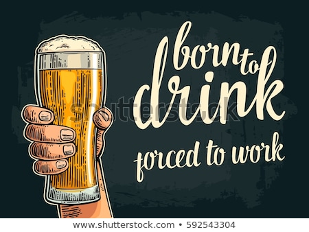 Beer Glass Born To Drink Advertising Poster Vector Stock photo © pikepicture