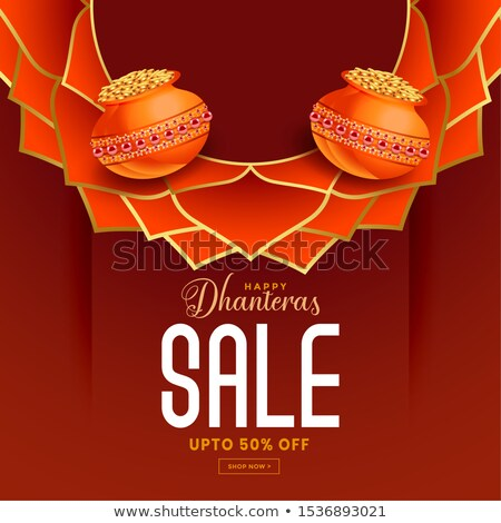 dhanteras sale banner with decorative elements design stock photo © sarts