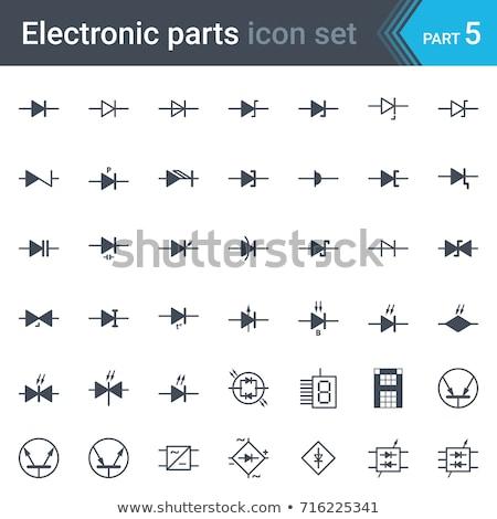 Foto stock: Elétrico · eletrônico · circuito · diagrama · símbolos · conjunto