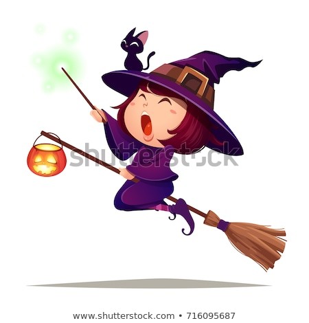 Little witch holding a cat Stock photo © user_10003441