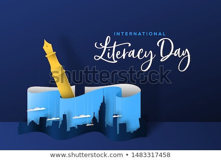 Literacy Day papercut concept of pen and city Stock photo © cienpies
