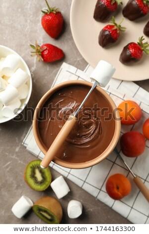 chocolade · vruchten · dessert · dining · zoete · framboos - stockfoto © furmanphoto