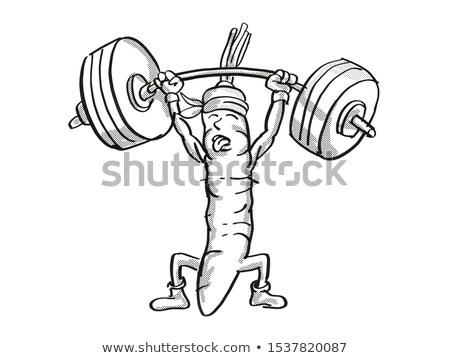 Wortel gezonde plantaardige barbell cartoon Stockfoto © patrimonio