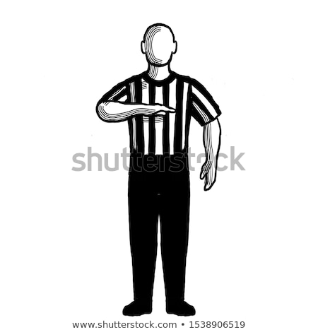 basketball referee stop clock for foul hand signal retro black and white stock photo © patrimonio