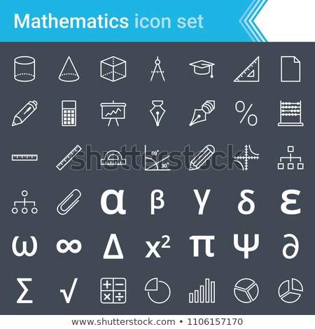 Modern, stroked mathematics icons isolated on dark background.  Stock photo © ukasz_hampel