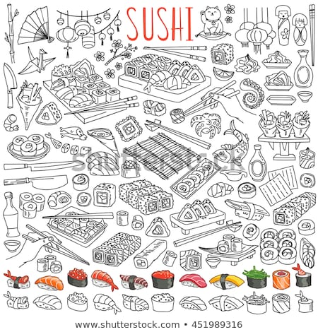 Ingesteld Japan voedsel cartoon doodle objecten Stockfoto © balabolka