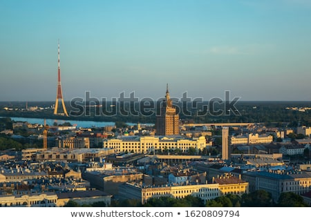 Panoramic aerial view Academy of Sciences and Riga Radio and TV Tower. Stock photo © artjazz