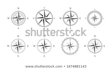 простой черный компас звездой икона складе Сток-фото © kyryloff