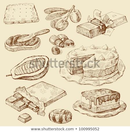 Chocolate hand drawn graphics doodles seamless pattern. Stock photo © balabolka