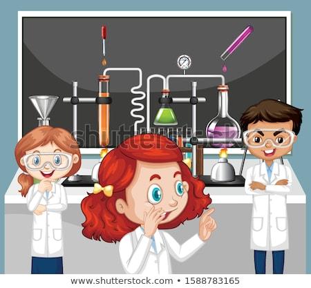 Osztályterem jelenet tudomány diák kísérlet illusztráció Stock fotó © bluering