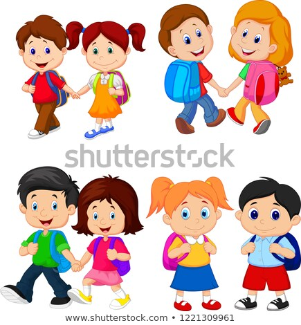 Cute little preschooler girl and boy walking Stock photo © Lopolo