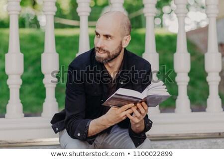 Ritratto bello maschio barba baffi libro Foto d'archivio © vkstudio