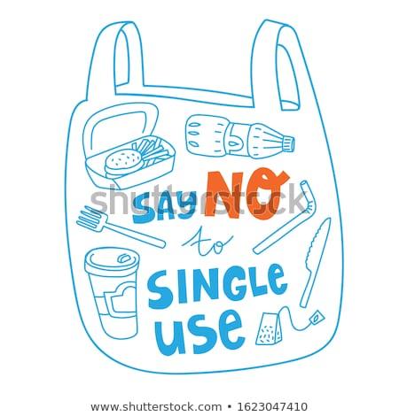 Eco bag, Eco Friendly. Ecology concept. Say no to plastic bags, vector Illustration. Stock photo © ikopylov