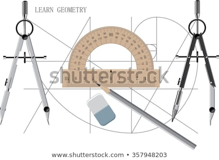 Illustration of divider compass and protractor Stock photo © Sonya_illustrations