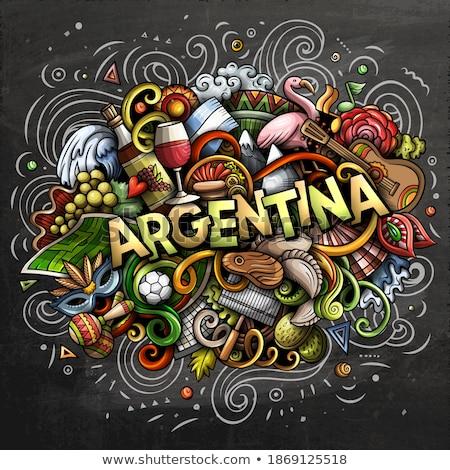 Argentinien Hand gezeichnet Karikatur Kritzeleien Illustration funny Stock foto © balabolka