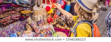 баннер долго формат мальчика рынке Бали Сток-фото © galitskaya