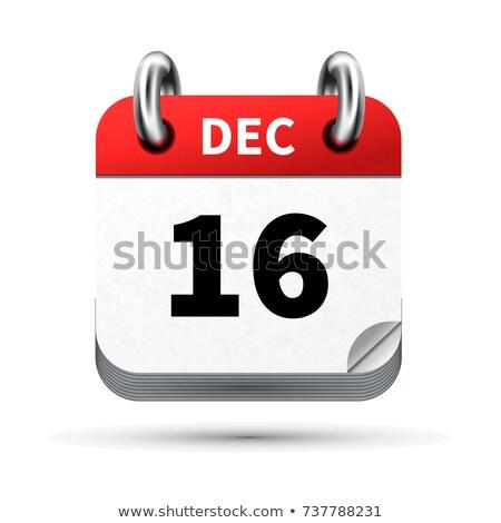 Brilhante realista ícone calendário 16 dezembro Foto stock © evgeny89