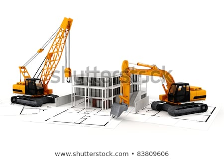 Worker Constructing New House, Floor Planning Stock photo © robuart