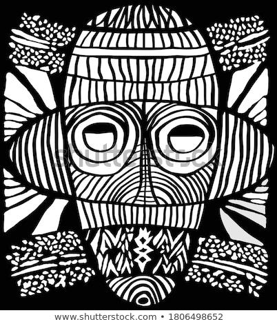 ヴィンテージ アフリカ マスク 木材 デザイン 魔女 ストックフォト © poco_bw