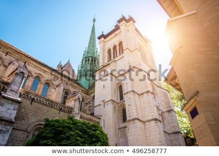Protestante igreja Suíça branco pequeno Foto stock © Elenarts