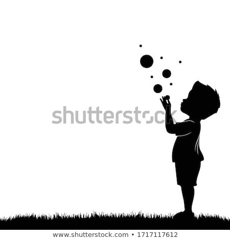 Fiú buborékfújás gyermek tájkép háttér buborékok Stock fotó © photography33