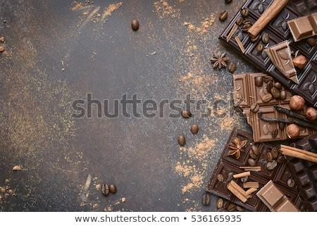 Photo stock: Chocolat · grains · de · café · épices · noix · fond · lait
