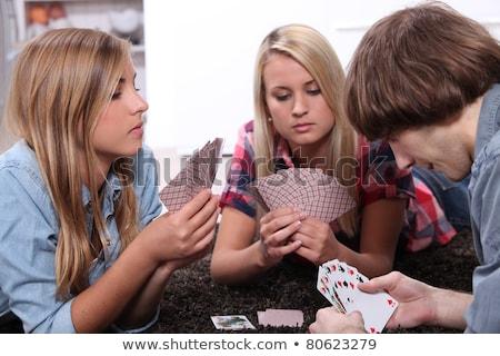 Portret nastolatków karty do gry domu chłopca poker Zdjęcia stock © photography33