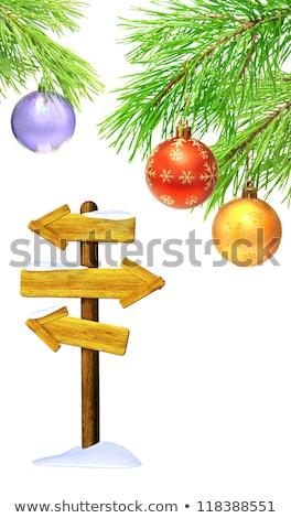 Karácsony hirdetőtábla díszek fehér cetlik tábla Stock fotó © calvste
