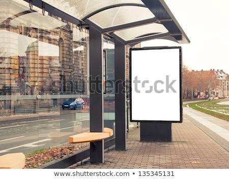 Reklam ilan panosu şehir otobüs durağı siyah beyaz örnek Stok fotoğraf © lkeskinen