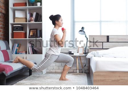mulher · exercer · branco · menina · mãos · sorrir - foto stock © aremafoto