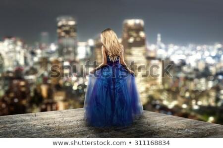 belo · azul · vestir · estúdio · retrato - foto stock © Pilgrimego