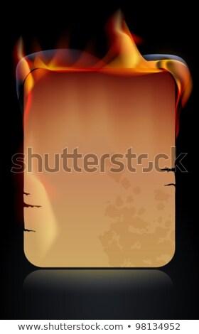 ardente · papel · fogo · livro · fundo · preto - foto stock © elmiko
