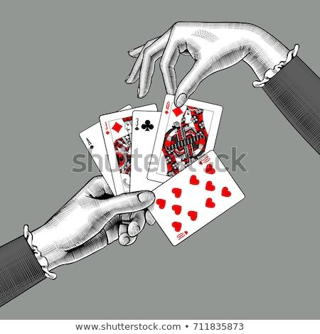 póker · szívek · lány · kártya · vektor · szemek - stock fotó © carodi