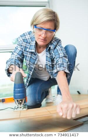 homme · mains · bois · travailleur · étage - photo stock © photography33