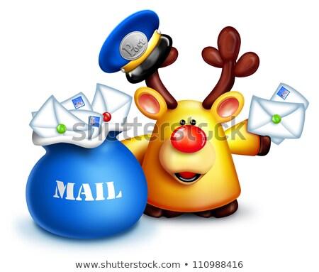 hóbortos · rénszarvas · postás · levelek · posta · táska - stock fotó © komodoempire