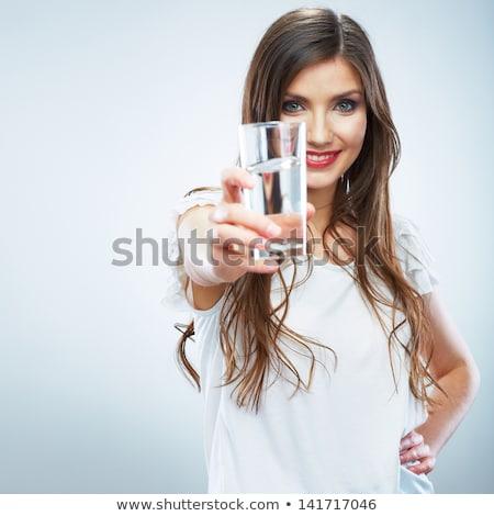 saç · dudaklar · kız · su · ayakta - stok fotoğraf © dolgachov