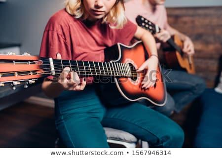 ragazzo · chitarra · tune · chitarra · acustica · cowboy · Hat - foto d'archivio © photography33