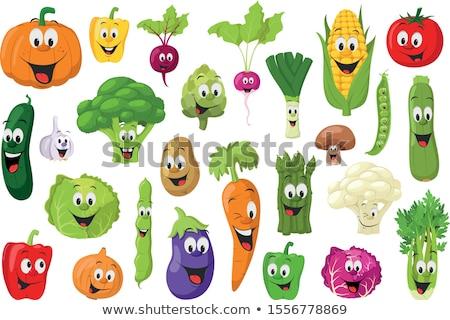Zöldség rajzfilmfigura gyűjtemény természet művészet zöld Stock fotó © dagadu