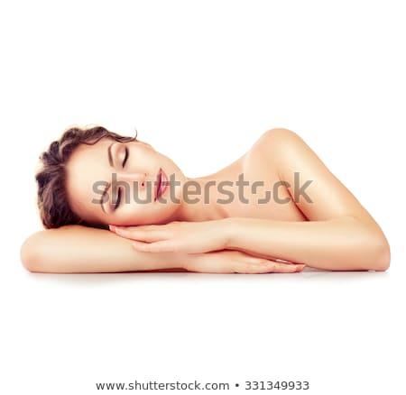 Stock fotó: Gyönyörű · nő · pihen · fürdő · ágy · lány · zöld