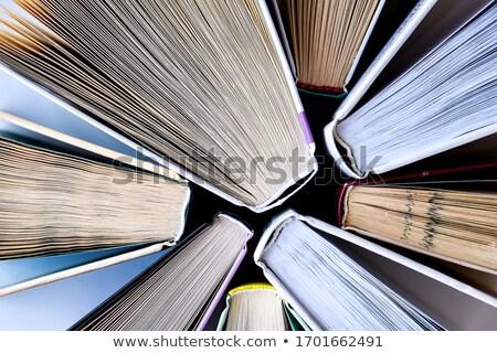 Boglya könyvek közelkép izolált fehér oktatás Stock fotó © toaster