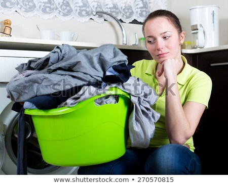 Mulher lavanderia branco casa fundo jovem Foto stock © wavebreak_media