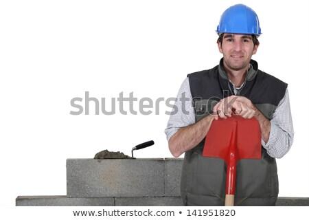 építőmunkás · áll · ásó · férfi · kaukázusi · citromsárga - stock fotó © photography33